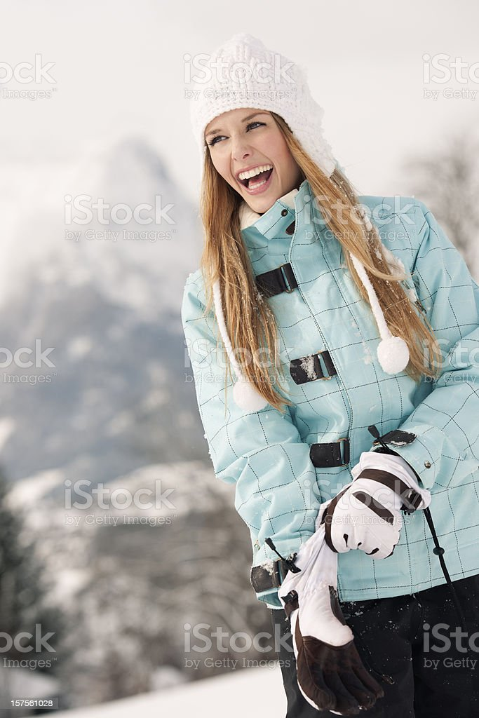 Happy Woman in Winter Sport Clothes (XXXL) stock photo