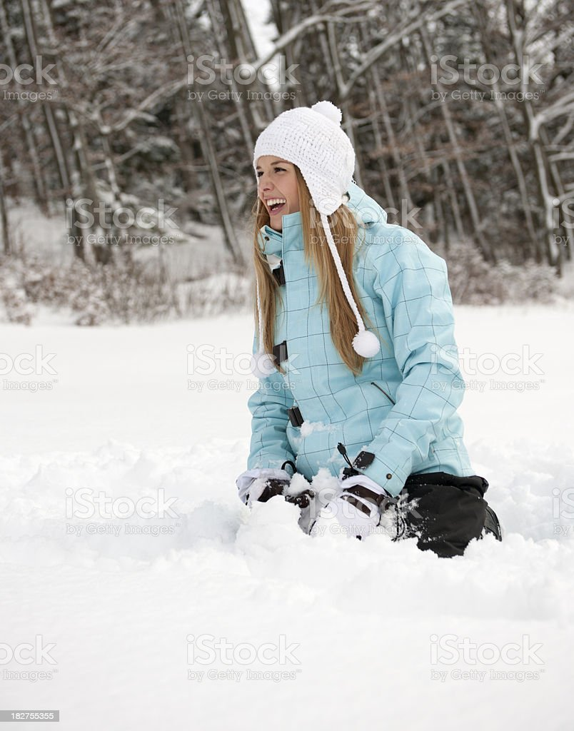 Happy Woman in Winter Sport Clothes (XXXL) royalty-free stock photo