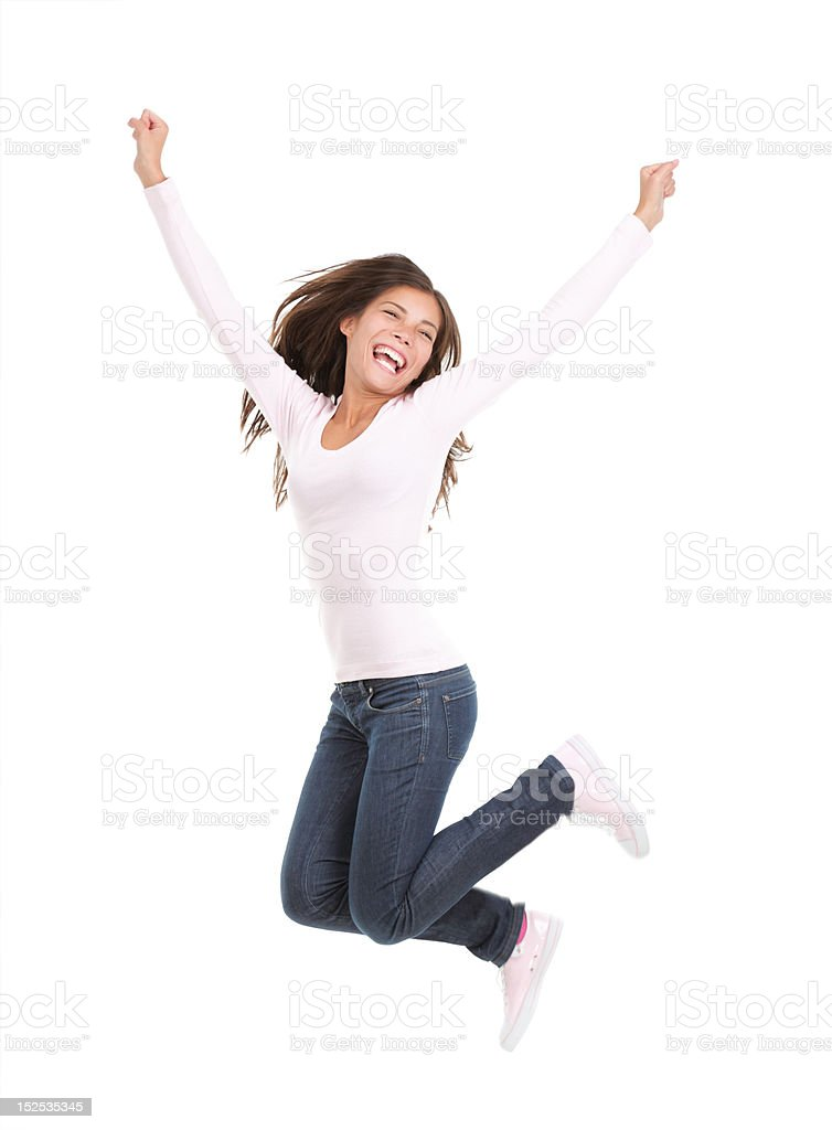 Happy woman jumping isolated stock photo