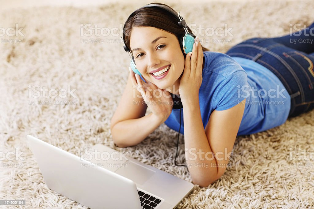 Happy Woman Listening To Music royalty-free stock photo