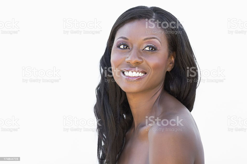 Happy Woman Looking Away royalty-free stock photo