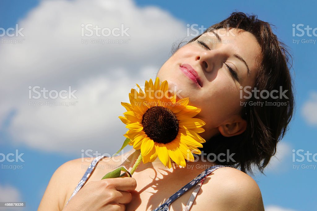 Happy woman looking peaceful stock photo