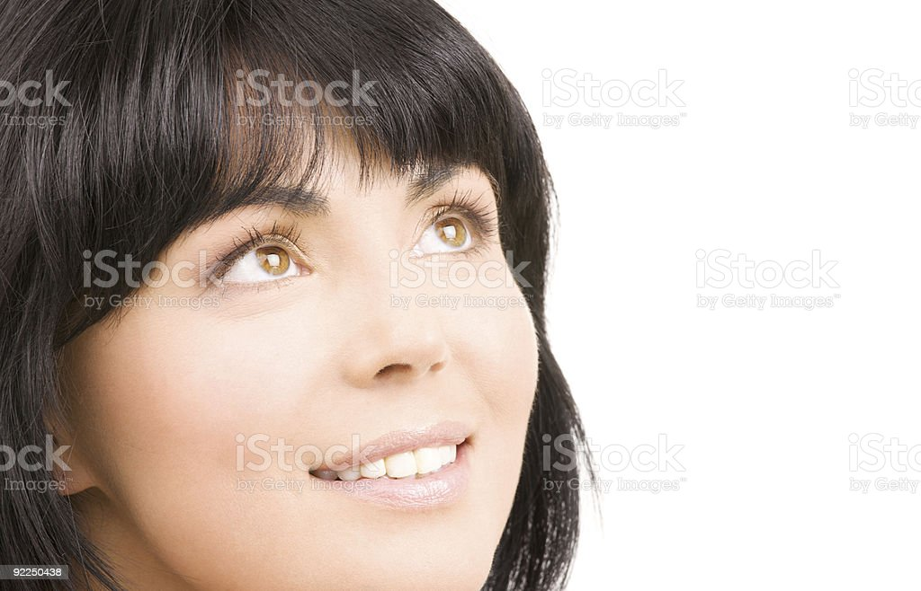 happy woman looking up royalty-free stock photo