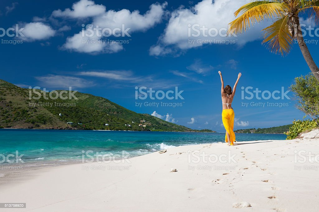 Happy woman on a deserted island stock photo