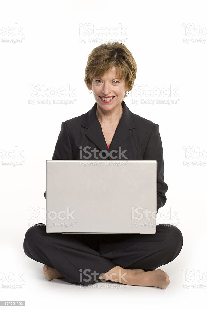 Happy woman on a laptop royalty-free stock photo