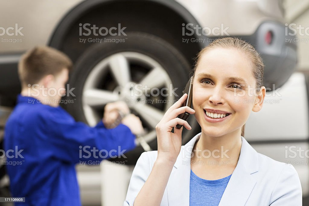 Happy Woman On Call royalty-free stock photo