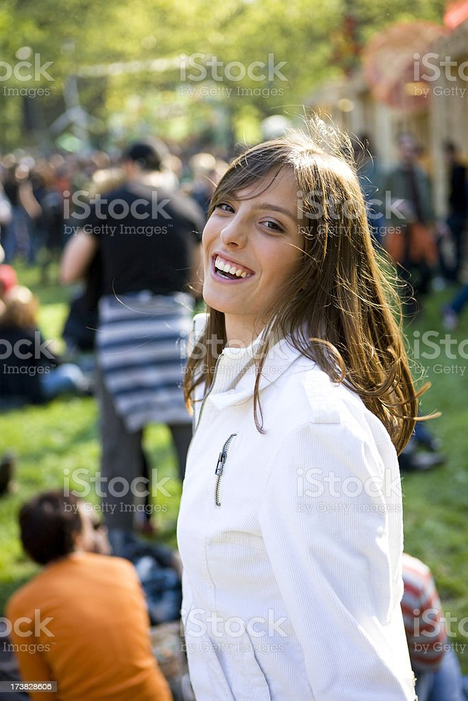 Happy woman on festival stock photo