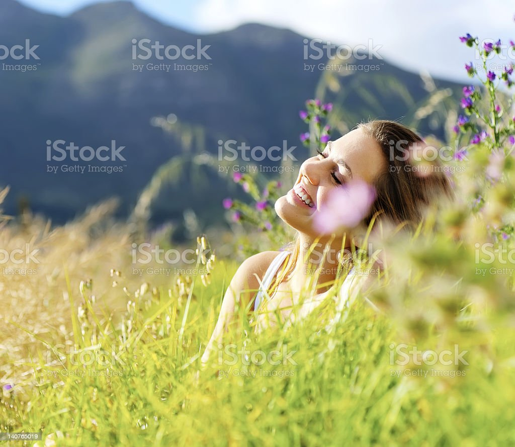 happy woman outdoor royalty-free stock photo