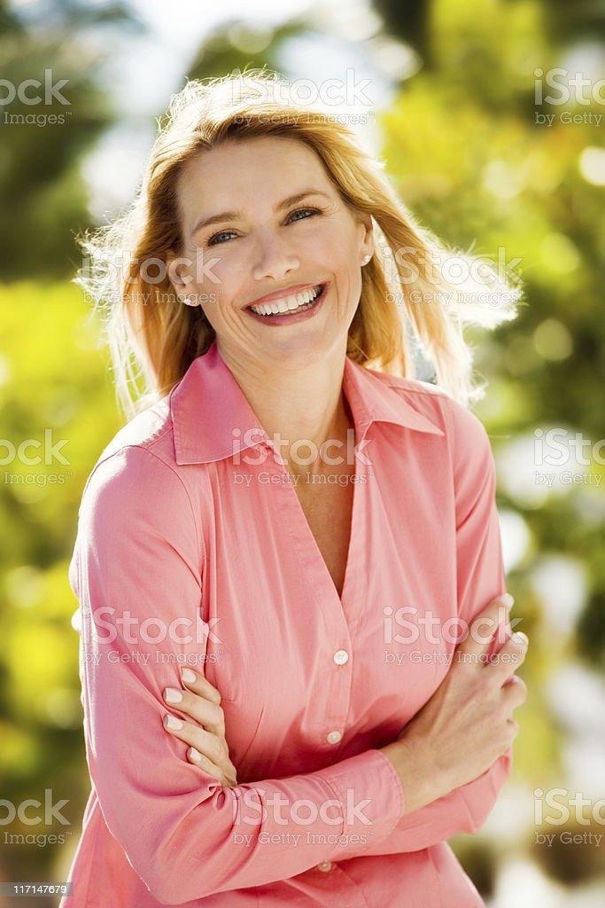 happy woman outdoors royalty-free stock photo
