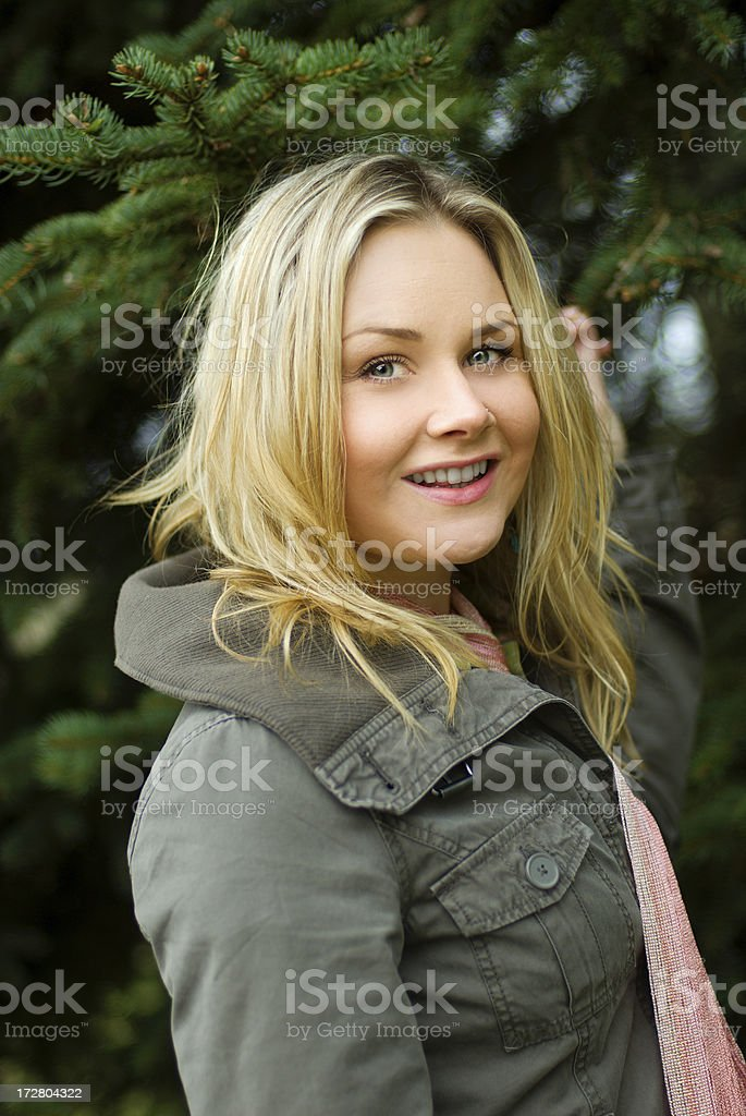 happy woman outdoors royalty-free stock photo