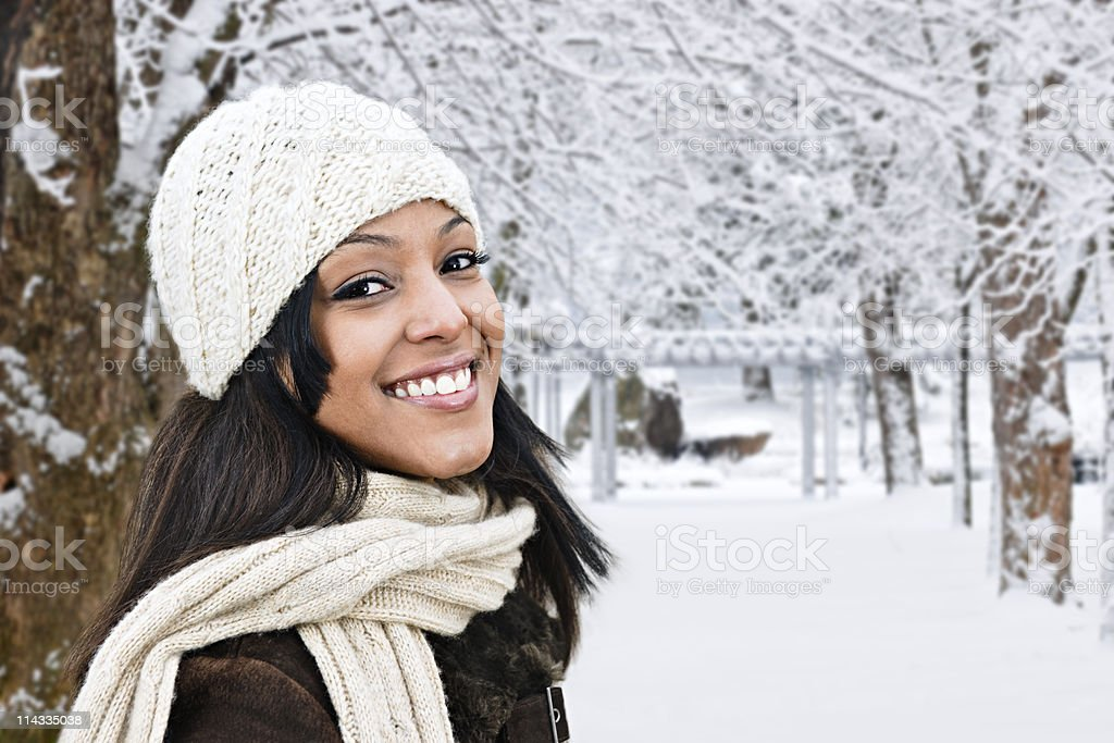 Happy woman outside in winter royalty-free stock photo