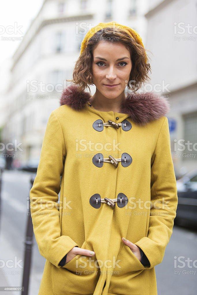 Happy Woman Paris stock photo