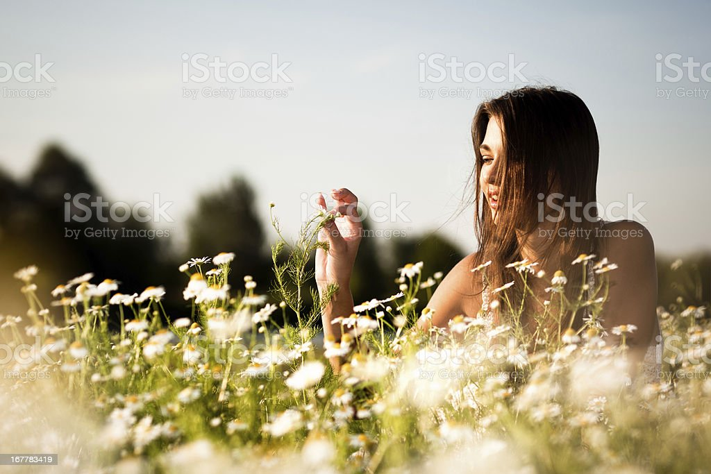 Happy woman portrait at nature royalty-free stock photo