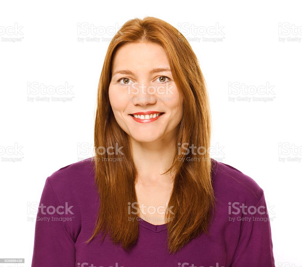 Happy woman portrait with purple shirt. stock photo