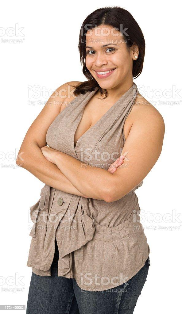 Happy Woman Posing, Three Quarter Length royalty-free stock photo