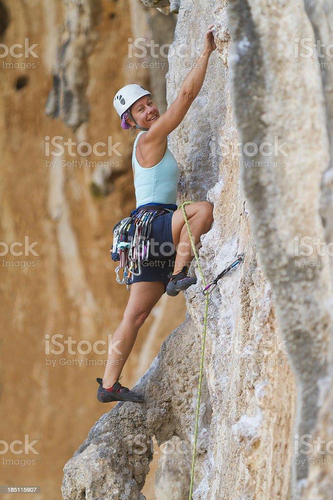 Happy Woman rockclimbing royalty-free stock photo