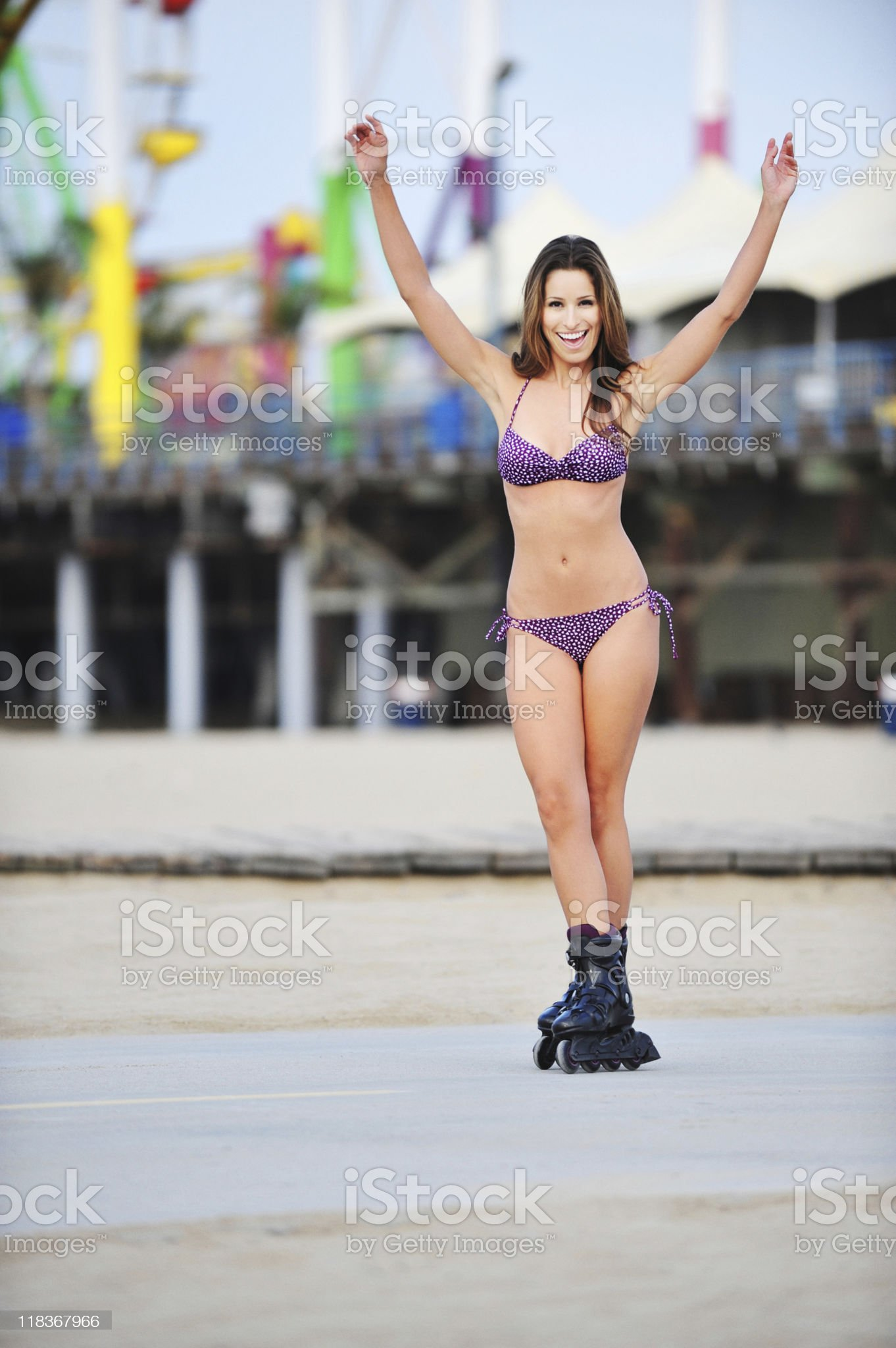 Happy Woman Rollerblading royalty-free stock photo
