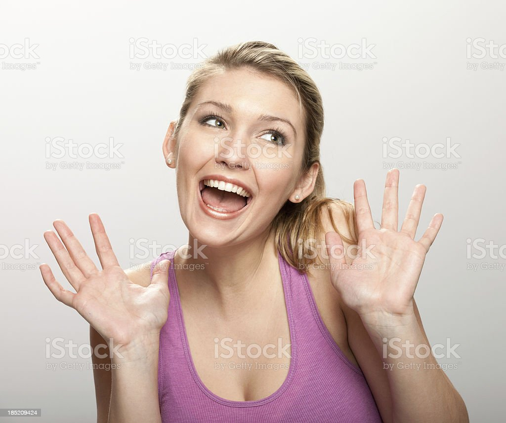 Happy Woman Screams stock photo
