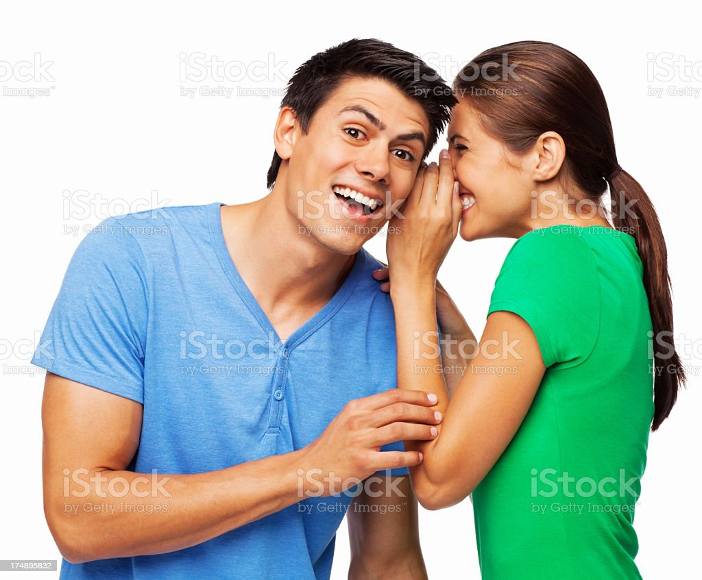 Happy Woman Sharing Secret With Boyfriend - Isolated royalty-free stock photo