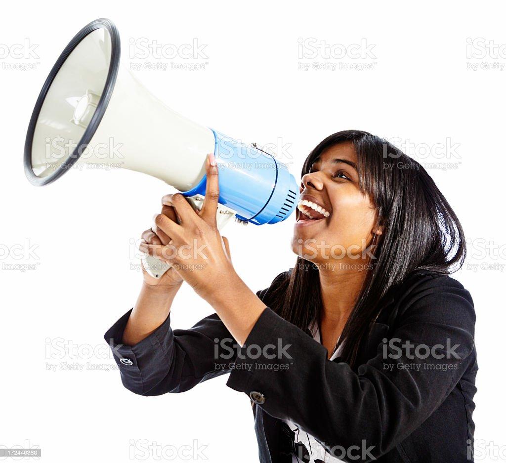 Happy woman shouts encouragingly into bullhorn royalty-free stock photo