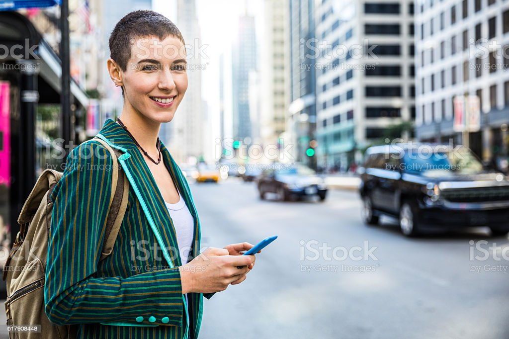 Happy woman spotted in Chicago downtown stock photo