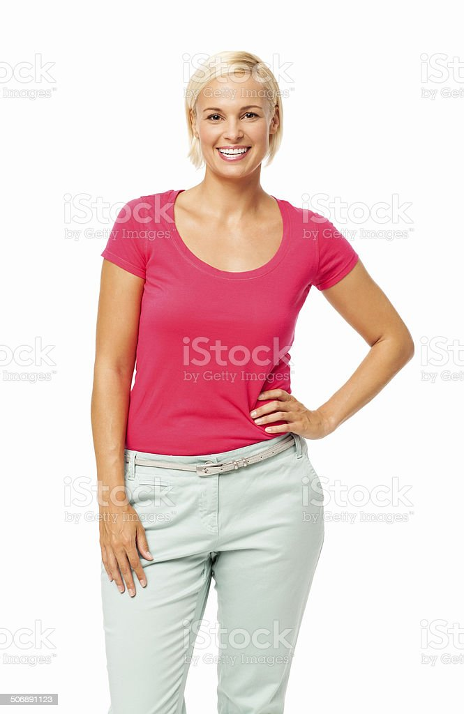 Happy Woman Standing With Hand On Hip royalty-free stock photo