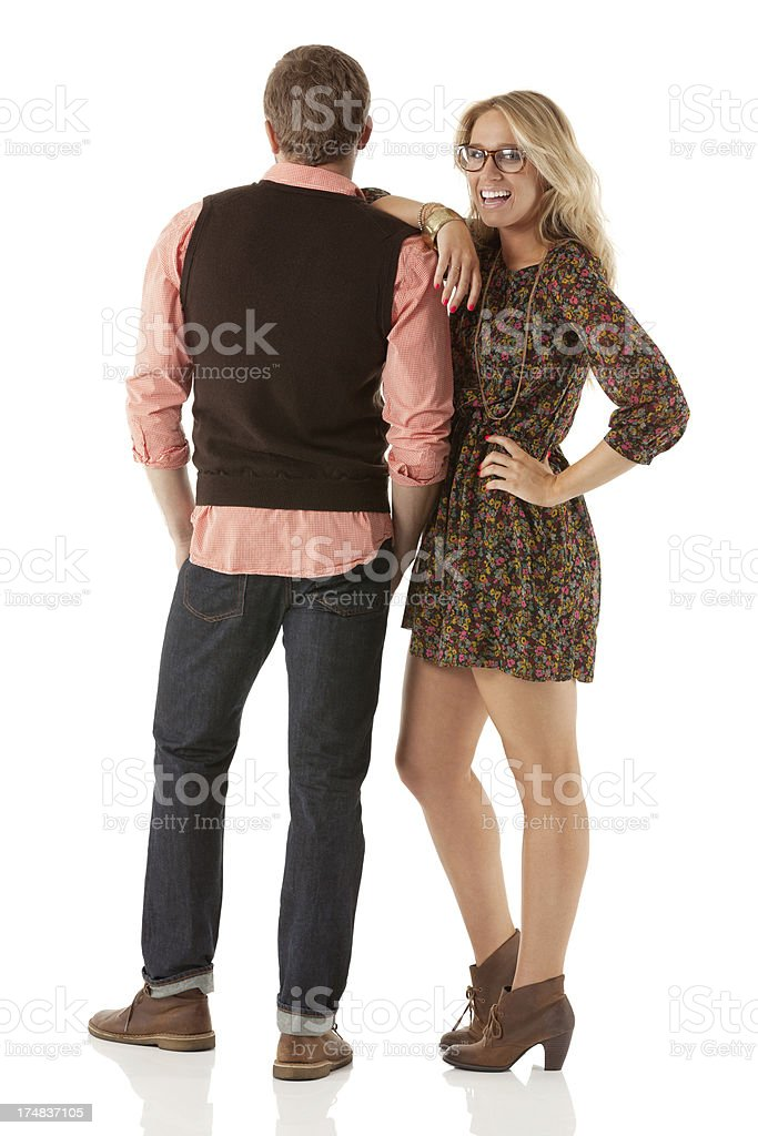 Happy woman standing with her boyfriend royalty-free stock photo