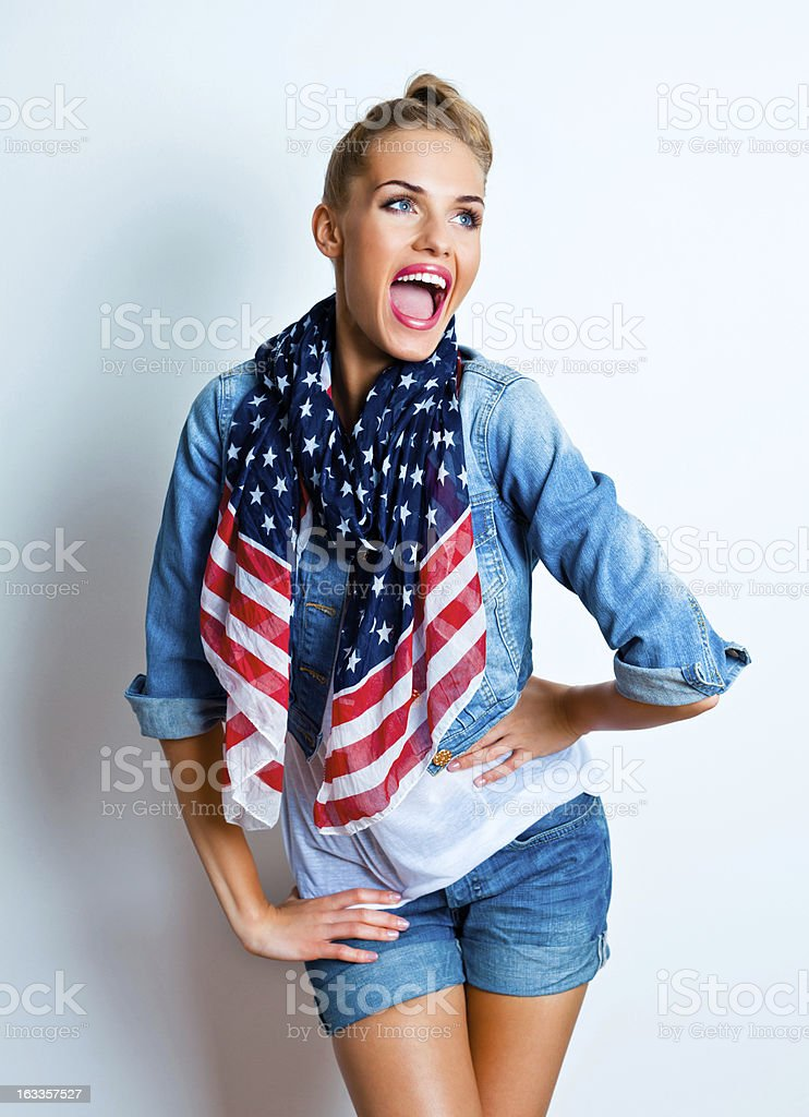 Happy woman, Studio Portrait royalty-free stock photo