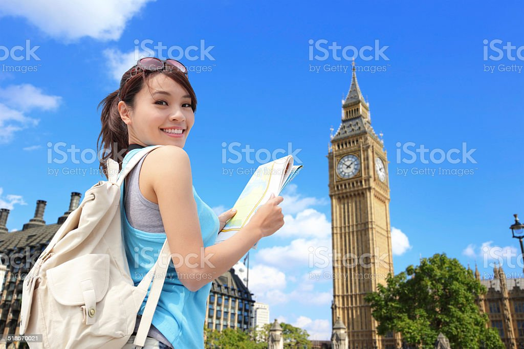 Happy woman travel in London stock photo