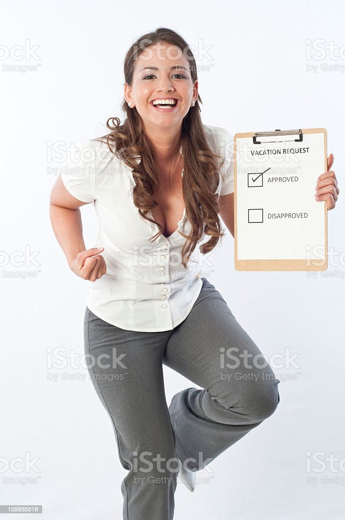 Happy Woman - Vacation Request royalty-free stock photo