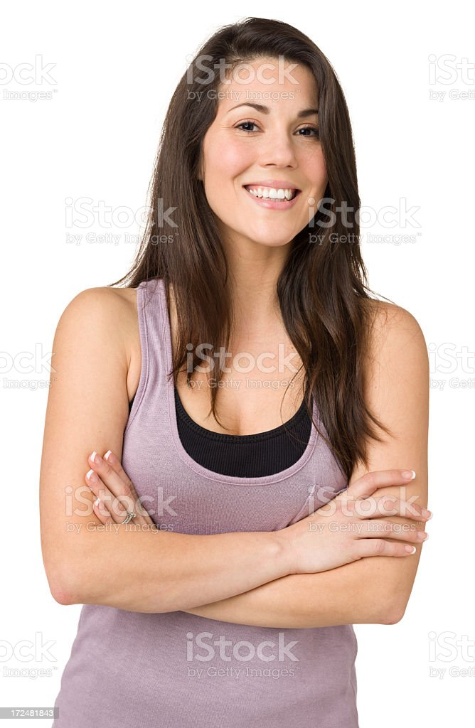 Happy Woman, Waist-up Portrait, Arms Crossed royalty-free stock photo
