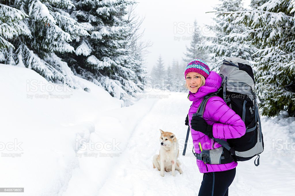 Happy woman walking in winter forest with dog stock photo