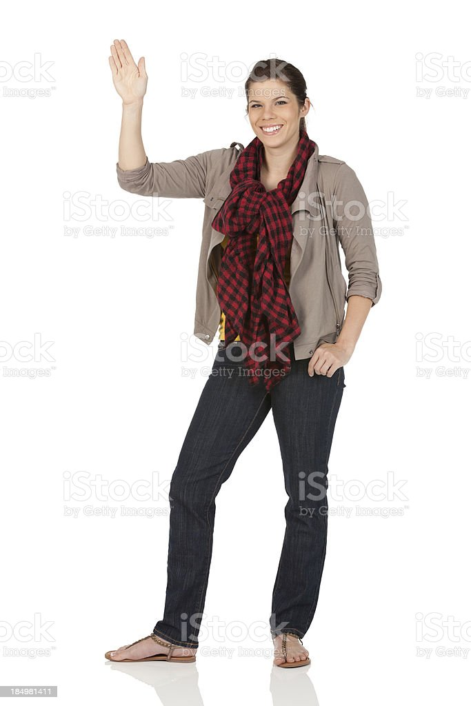 Happy woman waving hands stock photo