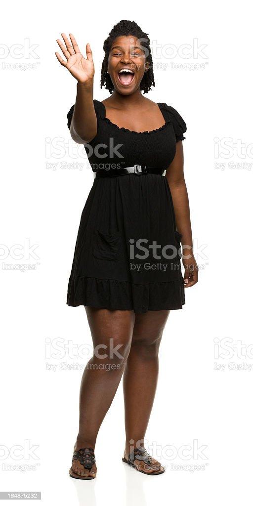 Happy Woman Waving Hello stock photo