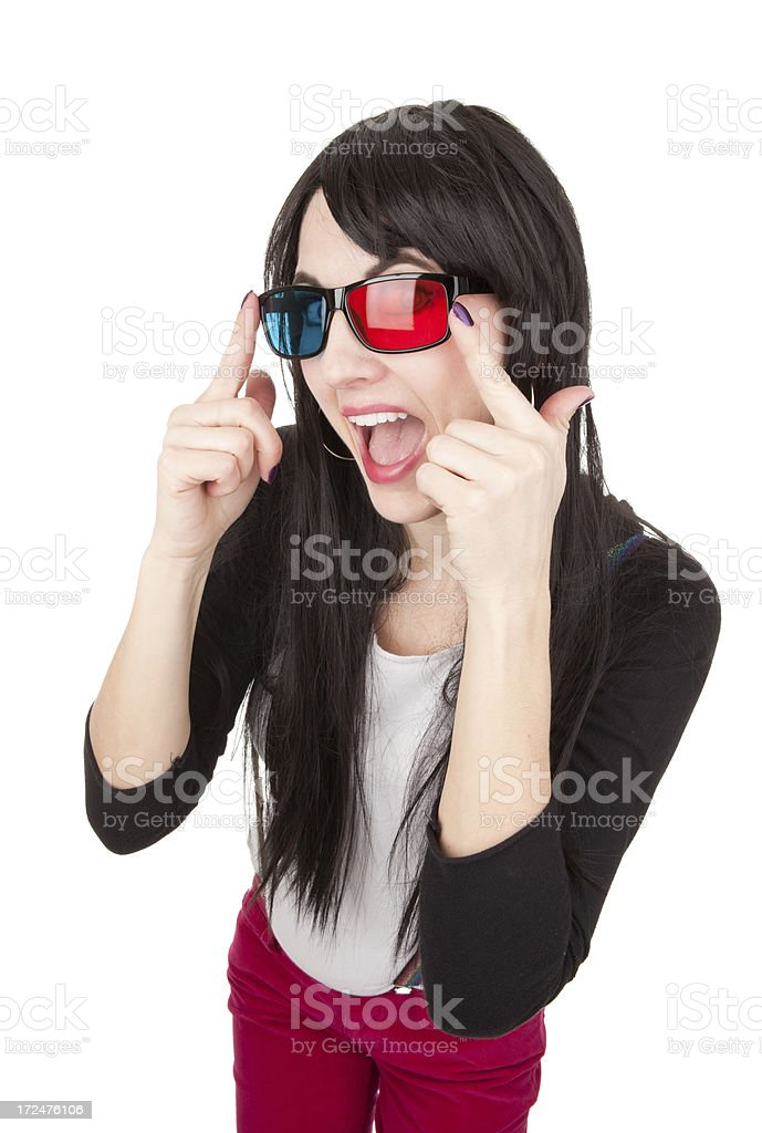 Happy Woman Wearing 3D Glasses royalty-free stock photo