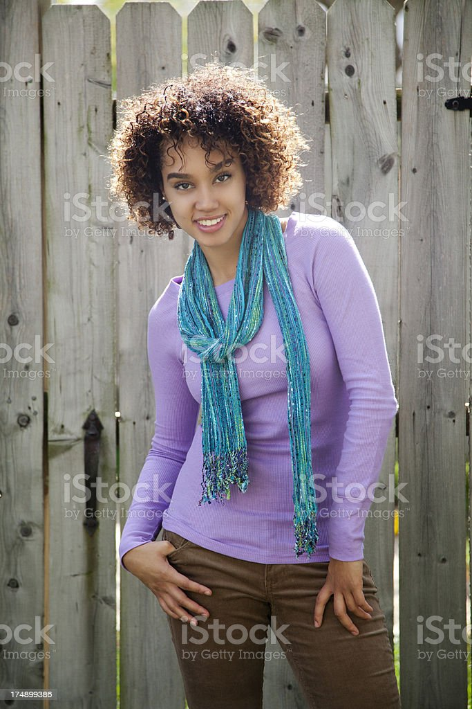 Happy woman wearing a scarf royalty-free stock photo