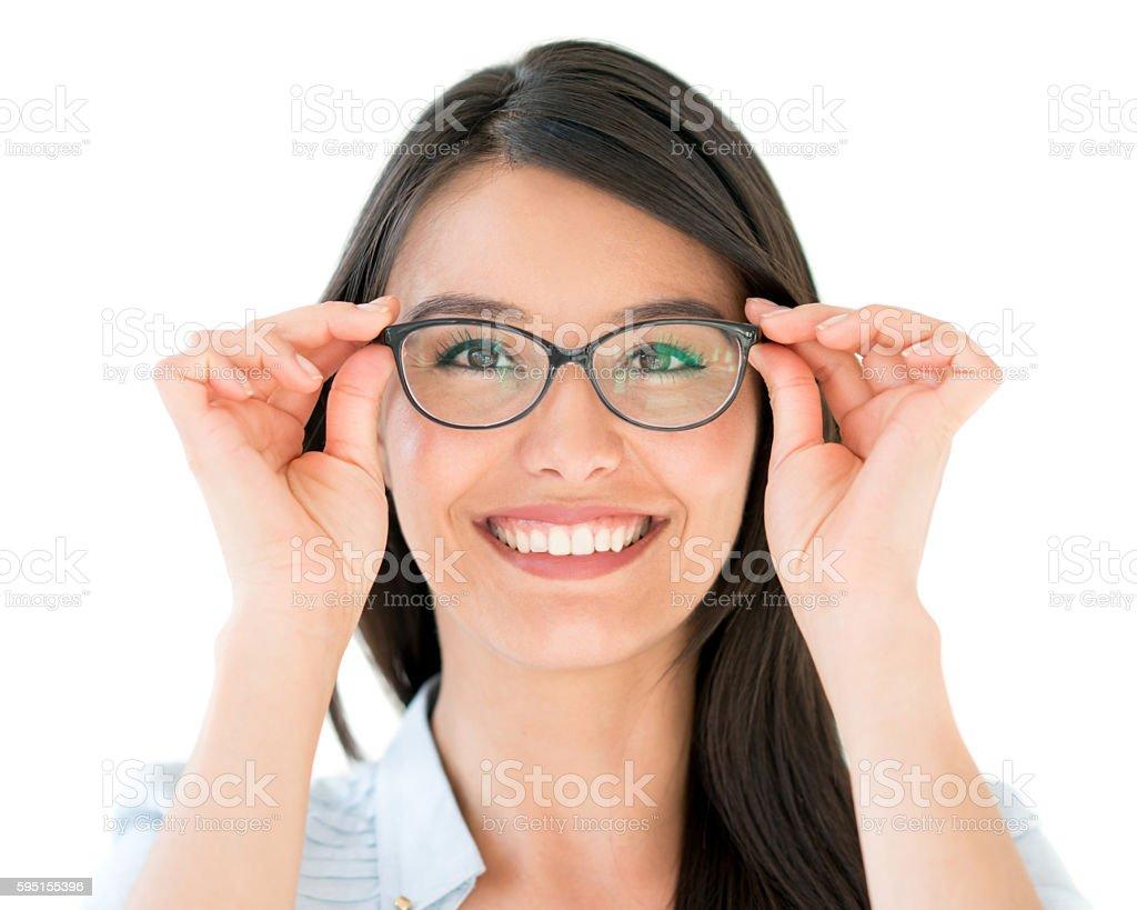 Happy woman wearing glasses stock photo