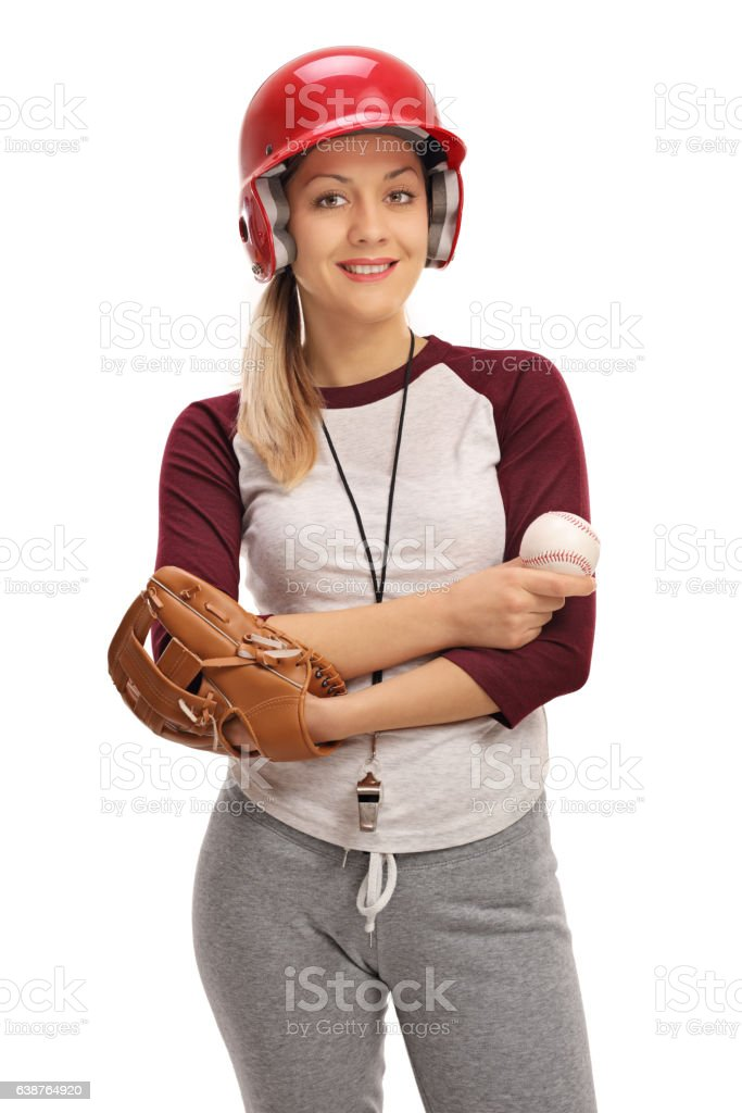 Happy woman with a baseball and a glove stock photo