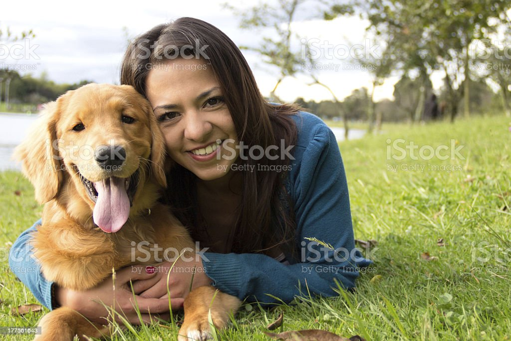 Happy woman with a dog royalty-free stock photo