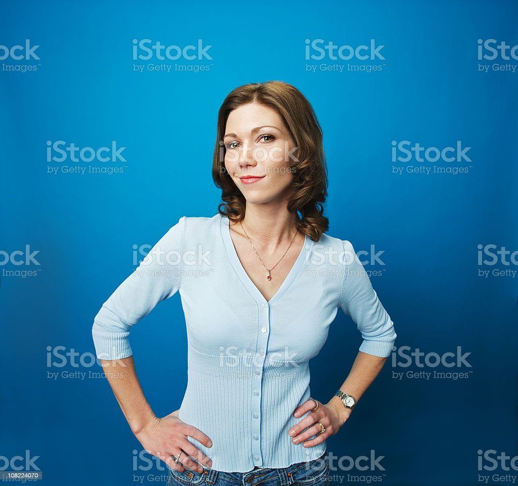 Happy Woman with a Smirk stock photo