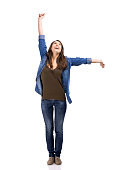 Happy woman with arms on the air