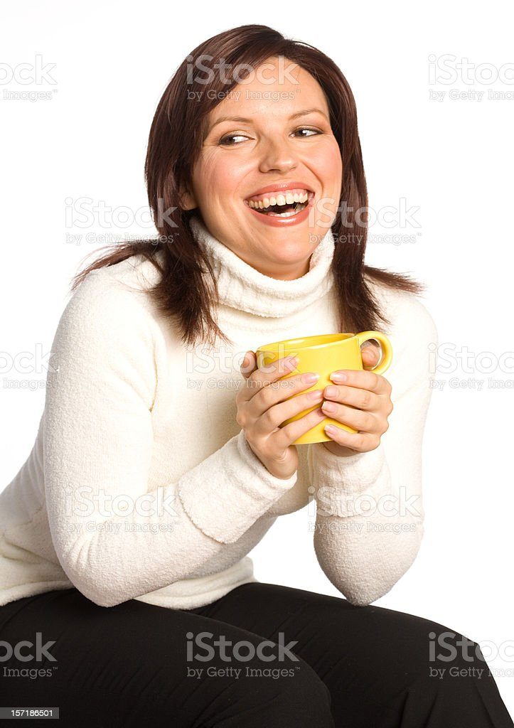 Happy woman with coffee cup royalty-free stock photo