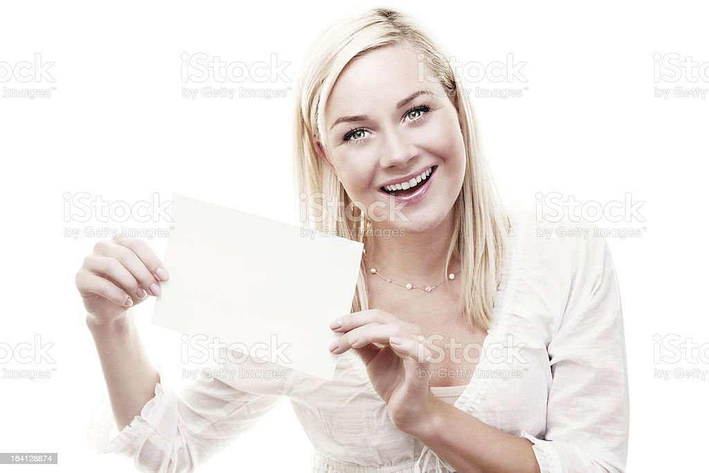 Happy woman with empty paper royalty-free stock photo