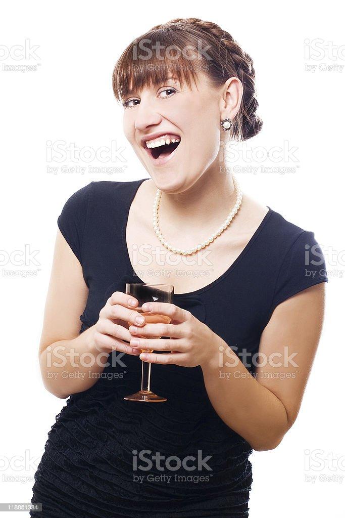 Mujer feliz con vidrio foto de stock libre de derechos