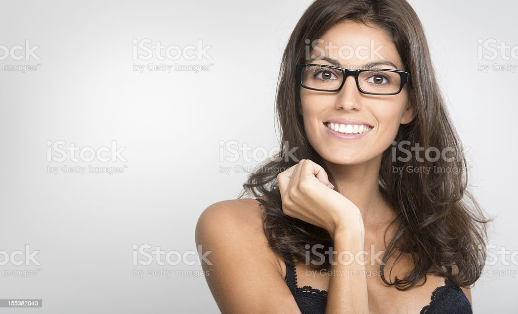 Happy woman with Glasses, Copy Space (XXXL) stock photo