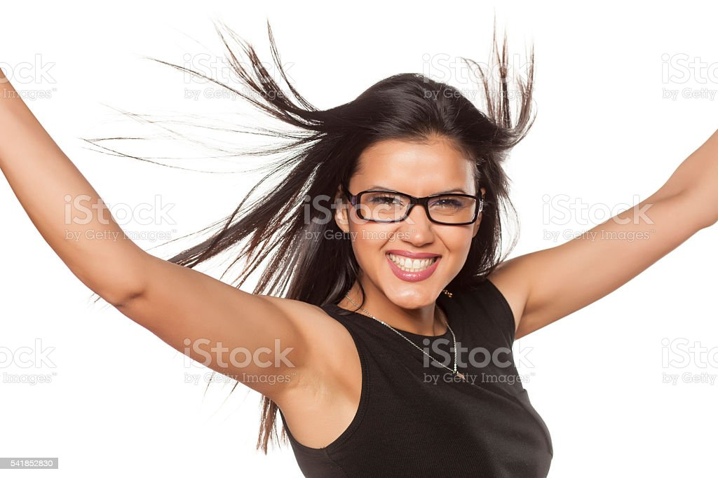 happy woman with glasses stock photo