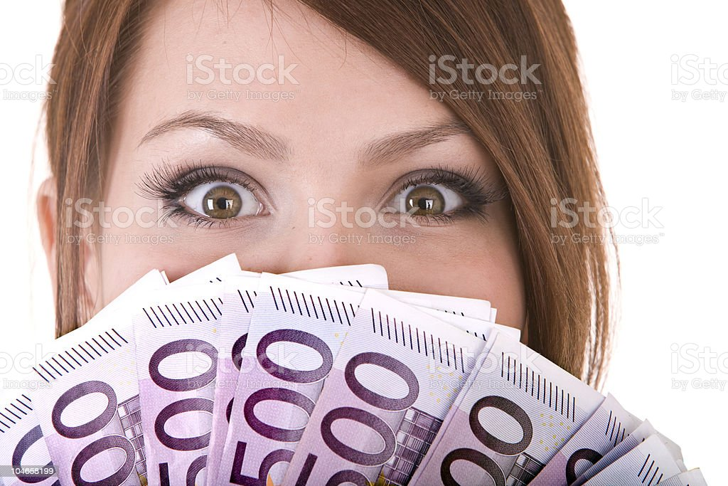 Happy woman with group of money. royalty-free stock photo