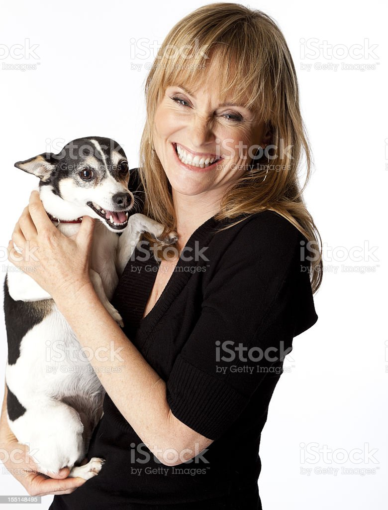 happy woman with her dog stock photo