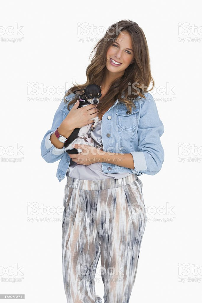 Happy woman with her puppy stock photo