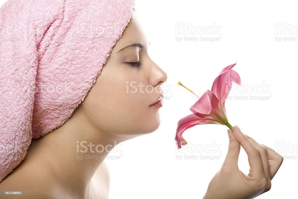 Happy woman with lily royalty-free stock photo
